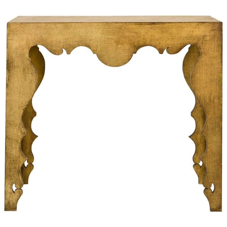 American Gold Leaf Rococo Style Console Table For Sale