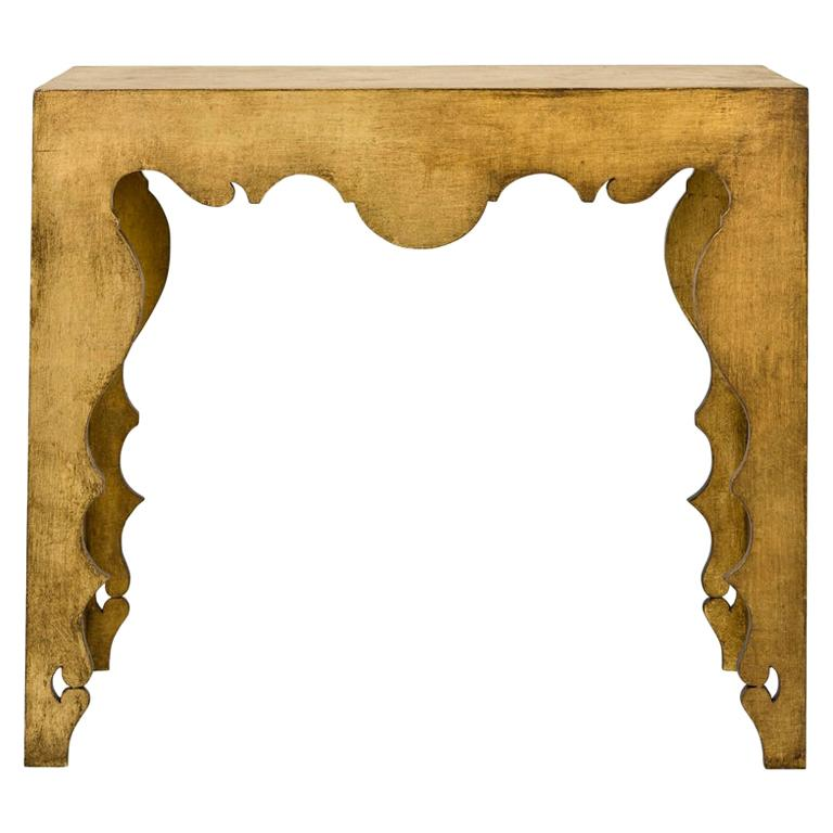 Gold Leaf Rococo Style Console Table For Sale