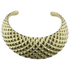 Gold Leaf Wood Choker Necklace
