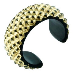 Gold Leaf Wood Cuff Bracelet