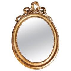 Gold Leaf Wood Mirror France Louis XVI Style, 1835-1840