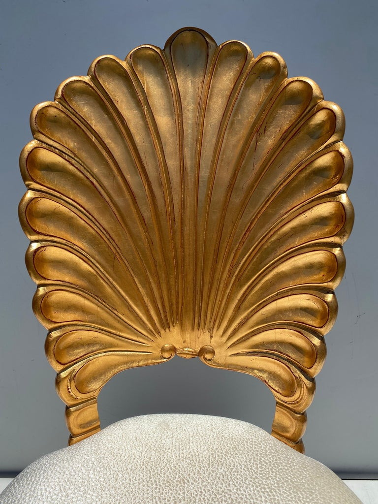 Gold Leafed Venetian Grotto Style Shell Dining Chairs  For Sale 2