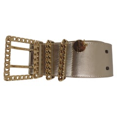 Gold leather and gold hardware belt NWOT