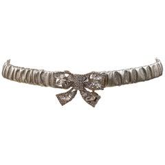Gold leather swarovski bow belt