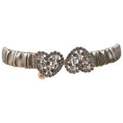Gold leather Swarovski stones hearts elastic belt