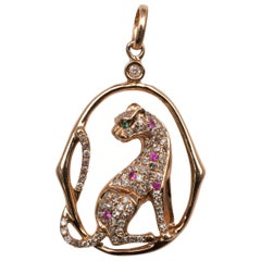 Gold Leopard 0.45 Carat Diamond Ruby Emerald Pendant 18 Karat Rose Gold