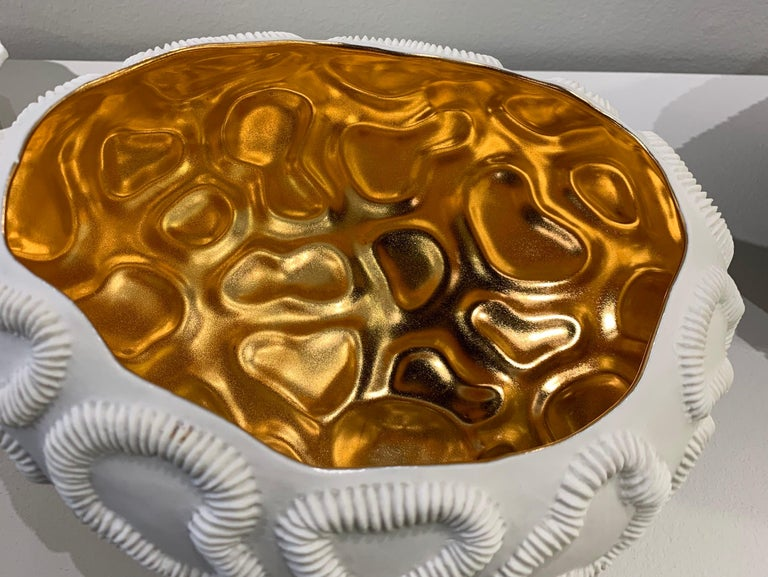 Italian Gold Lined Texture Porcelain Bowl, Italy, Contemporary For Sale