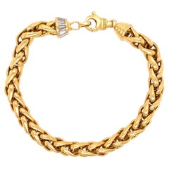 Gold Link and Baguette Diamond Bracelet Fine Estate Jewelry