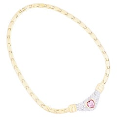 Gold Link Choker Necklace With Pink Crystal Heart By Nolan Miller, 1980s