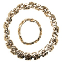Gold Link Italian Collar Necklace with Matching Bracelet