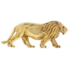 Gold Lion Brooch by Tiffany & Co.