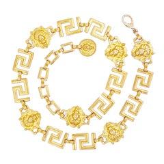 Gold Lion Head Chain Link Belt By Anne Klein, 1980s
