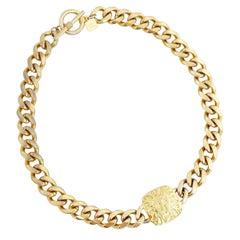 Gold Lion Logo Medallion Curb Chain Choker Necklace By Anne Klein, 1980s