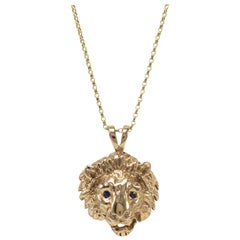 Gold Lion Pendant Necklace with Precious Sapphire Gemstone Eyes