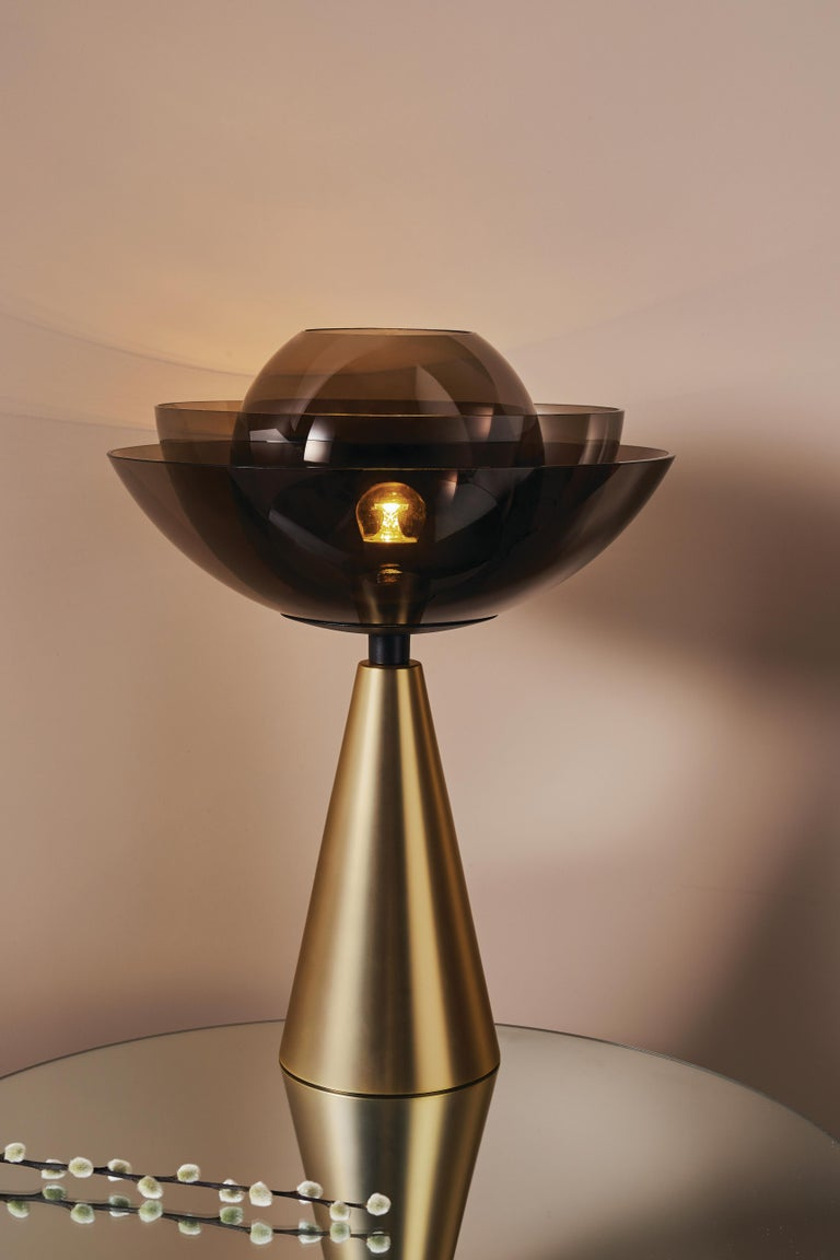 Italian Gold Lotus Table Lamp by Serena Confalonieri For Sale