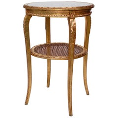 Gold Louis XIV Empire Style Side Table with Cane Shelf, Late 20th Century
