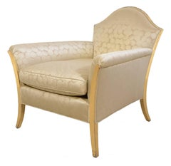Pair of Gold Lounge Chairs and Ottoman