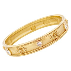 """Gold """"Love Blooms"""" Bangle By Elizabeth Taylor For Avon, 1990s"""