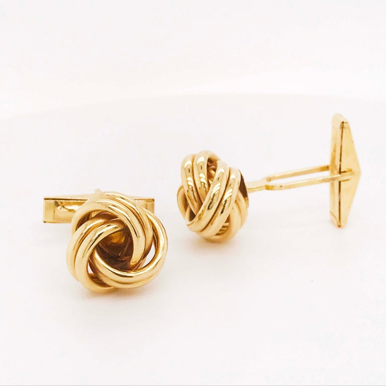 Retro Gold Love Knot Cufflinks, 14K Yellow Gold Men's High Polish Love Knot Cufflinks For Sale