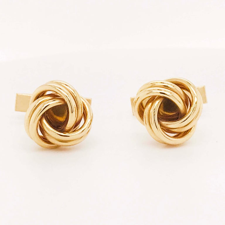 Gold Love Knot Cufflinks, 14K Yellow Gold Men's High Polish Love Knot Cufflinks In New Condition For Sale In Austin, TX