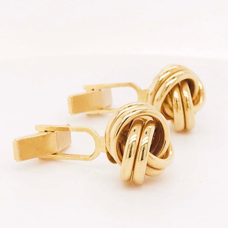 Gold Love Knot Cufflinks, 14K Yellow Gold Men's High Polish Love Knot Cufflinks For Sale 1