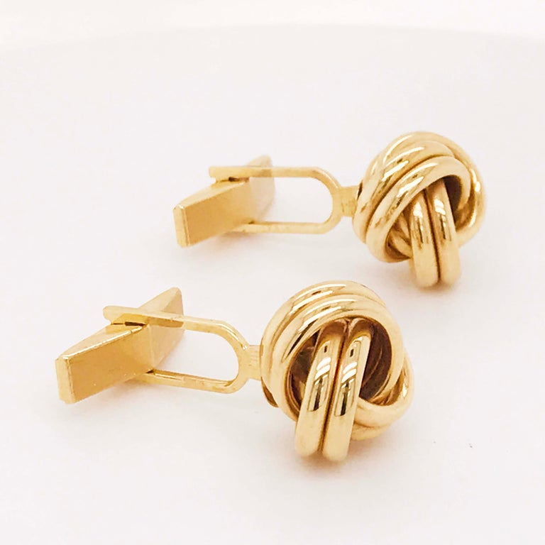 Gold Love Knot Cufflinks, 14K Yellow Gold Men's High Polish Love Knot Cufflinks For Sale 2