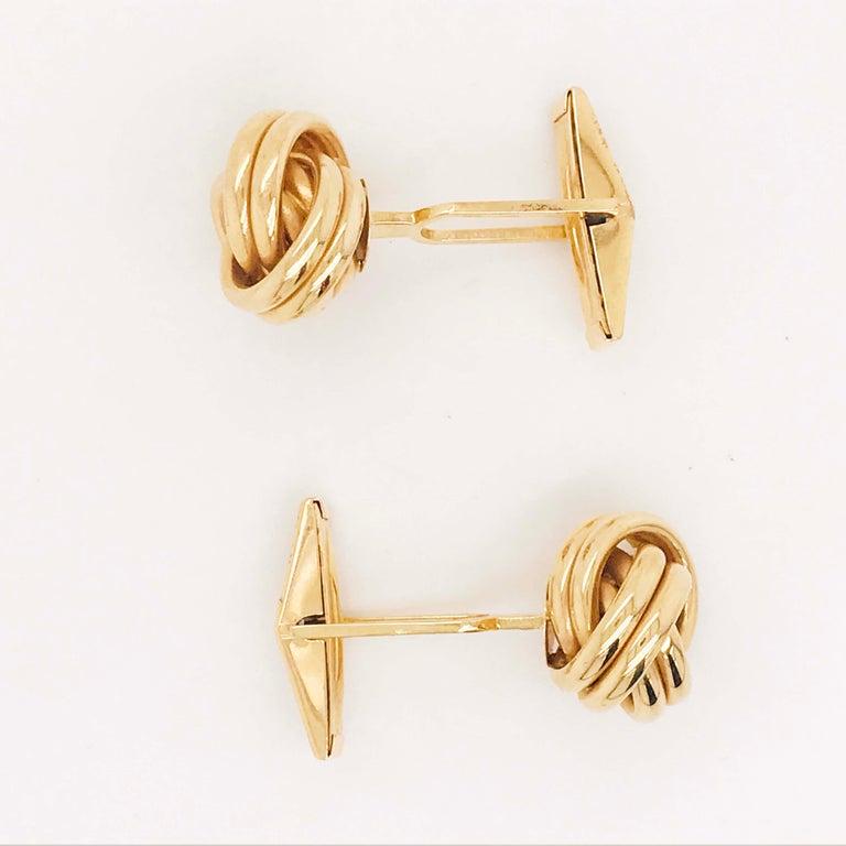 Gold Love Knot Cufflinks, 14K Yellow Gold Men's High Polish Love Knot Cufflinks For Sale 3