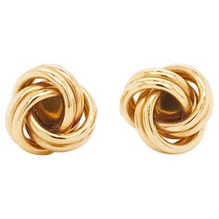 Gold Love Knot Cufflinks, 14K Yellow Gold Men's High Polish Love Knot Cufflinks