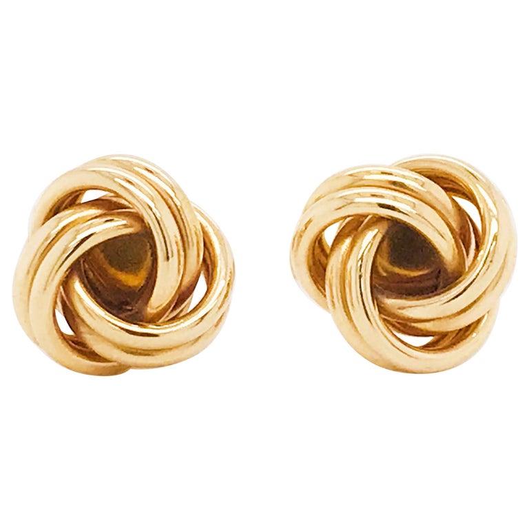 Gold Love Knot Cufflinks, 14K Yellow Gold Men's High Polish Love Knot Cufflinks For Sale