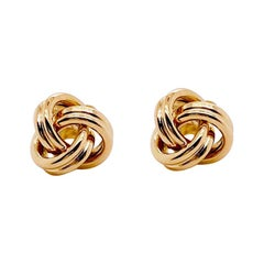 Gold Love Knot Earring Studs, 14 Karat Yellow Gold Earrings