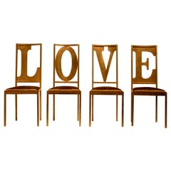 Gold Love Set of 4 Letter Chairs