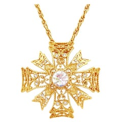 Gold Maltese Cross Pendant Necklace By Kenneth Jay Lane, 1990s