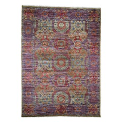 Gold Mamluk Design Veg Dyes Hand Spun New Zealand Wool Oriental Rug