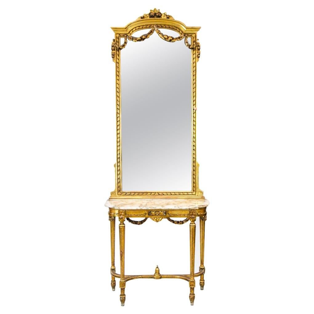 Gold Marble Top Console with Mirror