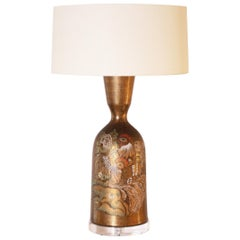 Gold Marbro Styled Lamp with Hand-Painted Rooster, circa 1960
