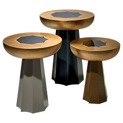 Gold Medium Table in Gold Leaf and Grey Mirror by Luísa Peixoto