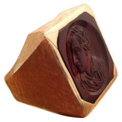 Gold Men's Ring with Intaglio Portrait in Carnelian
