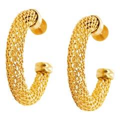 Gold Mesh Hoop Earrings, 14 Karat Gold Hoops with Custom Texture, Medium Hoops