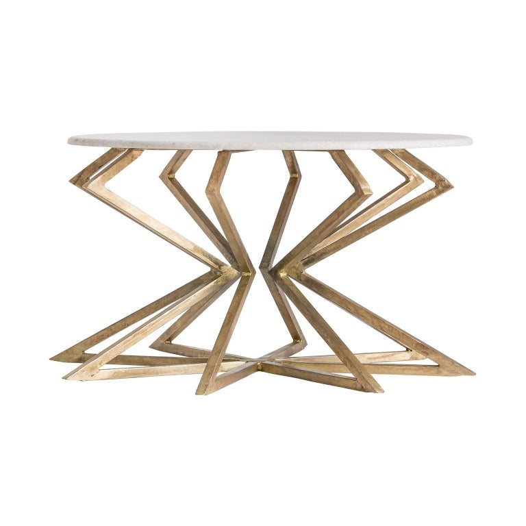 European Gilded Metal Patina Effect and White Marble Round Coffee Table For Sale