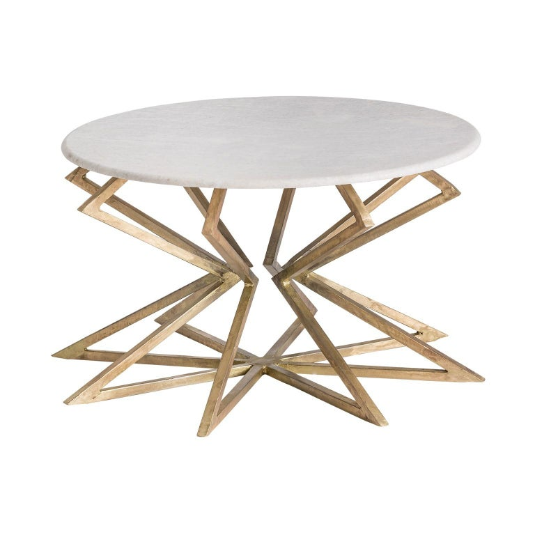 Gilded Metal Patina Effect And White Marble Round Coffee Table