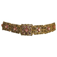 Gold Metal Filigree Link Belt Pink Textured Glass and Rhinestones `1960s