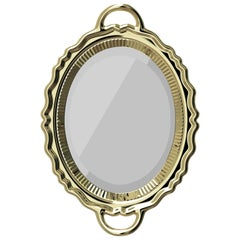 Gold Metal Finish Plateau Mirror, Designed by Studio Job, Made in Italy