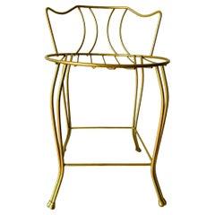 Gold Metal Hollywood Regency Vanity Chair/Stool