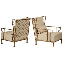 Gold Metal Lattice Pair, Lounge Chairs, France