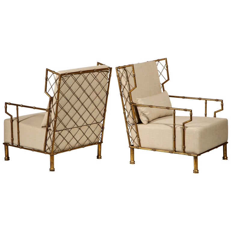 Gold Metal Lattice Pair, Lounge Chairs, France For Sale