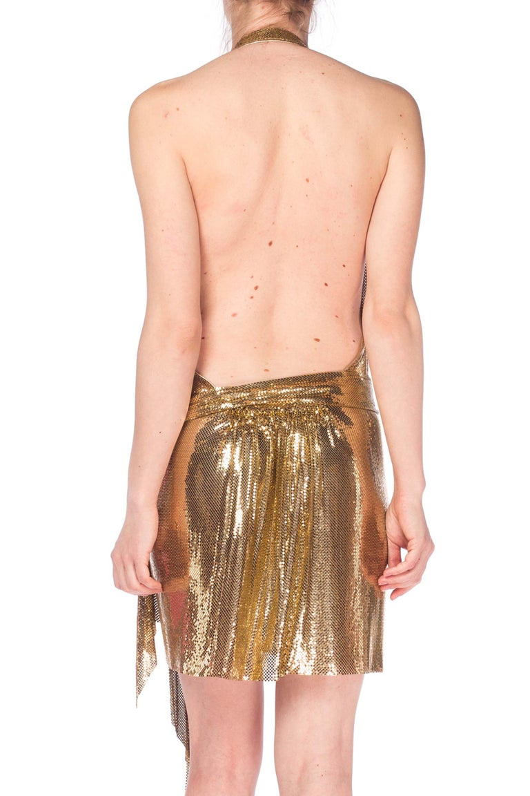 Gold Metal Mesh Dress  For Sale 7