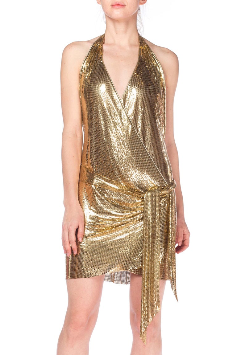 Gold Metal Mesh Dress  For Sale 9