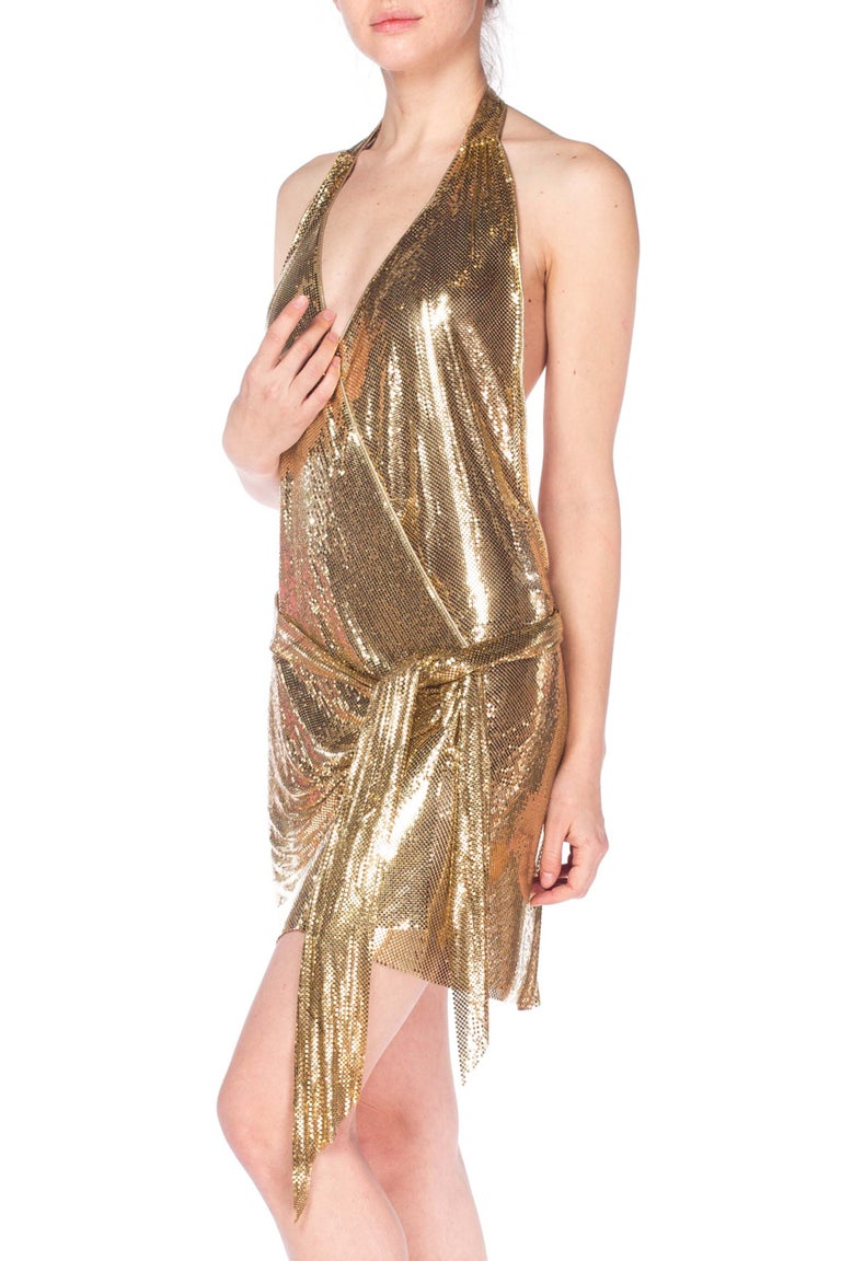 Gold Metal Mesh Dress  For Sale 10