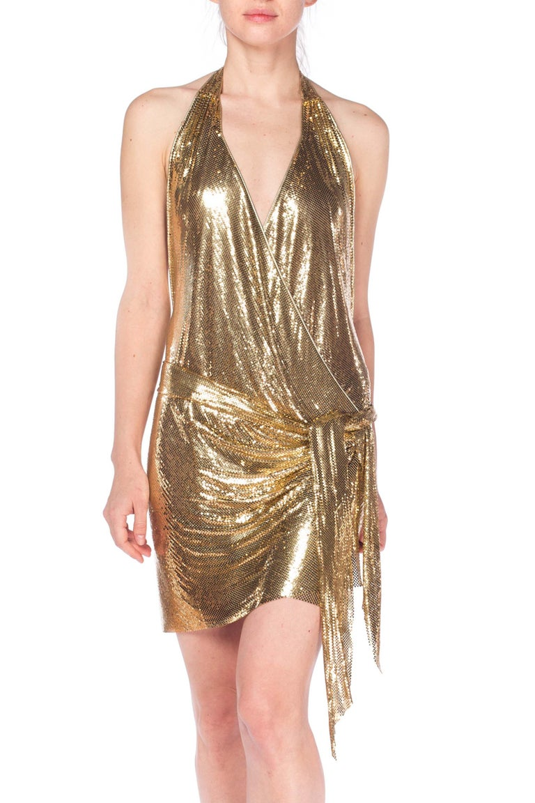 Gold Metal Mesh Dress  For Sale 4