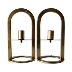 Gold Metal Pair of Table Lamps Model Arco 40 by VD, 1980s Germany